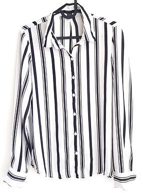 חולצת רטרו לבנה עם פסים S\M I FOREVER21