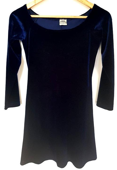 שמלת קטיפה כחול עמוק M I TOPPER