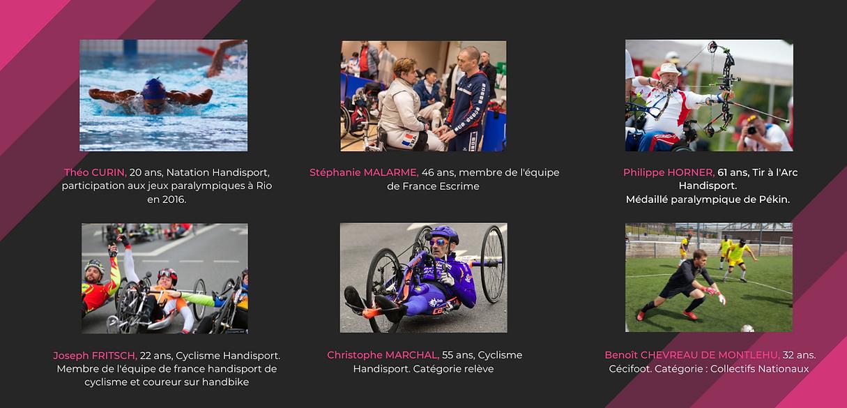 Site internet - présentation athlètes.