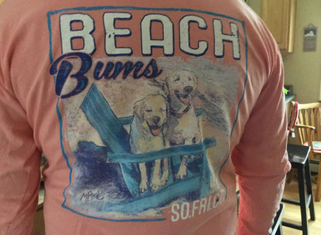 My artwork Beach Bums featured on a Southern Fried Cotton Tee!