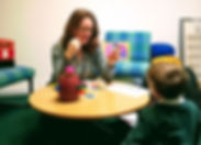 Alice Gainsford, Speech and Language Therapist, at work in a school