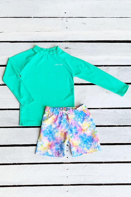 Tie Dye Dreams Long Sleeve Sun Shirt and Swim Trunk Set