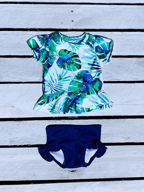 Royal Palms Short Sleeve Skirted Sun Shirt with Ruffle Swim Bottom Set