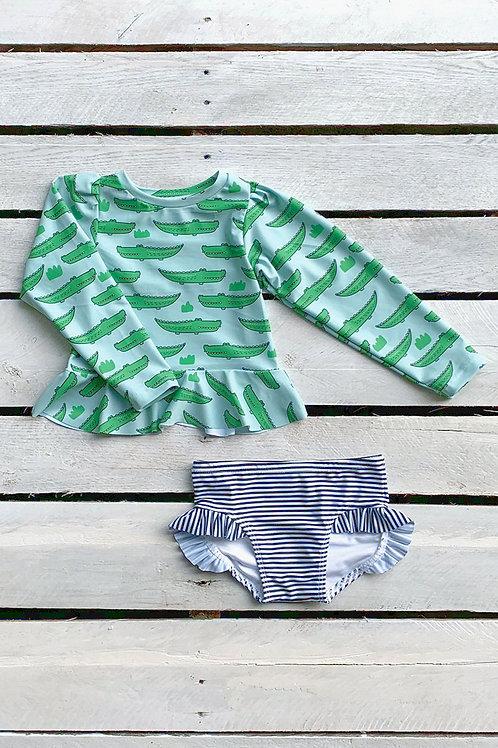 Gators Long Sleeve Skirted Sun Shirt and Ruffle Swim Bottom