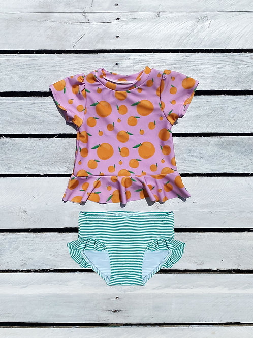 Squeeze the Day Short Sleeve Rash Guard and Ruffle Bottom