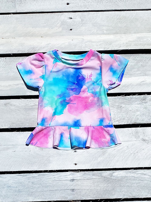 Pastel Sunset Skirted Short Sleeve Sun Shirt