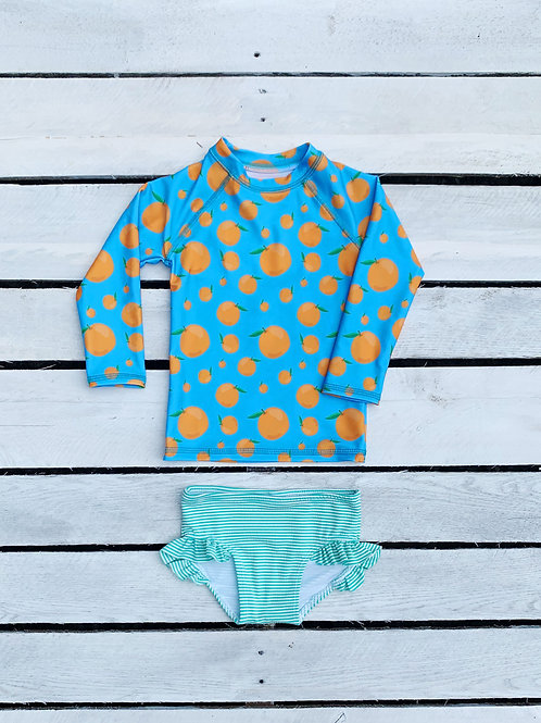 Squeeze the Day Rash Guard and Ruffle Swim Bottom Set