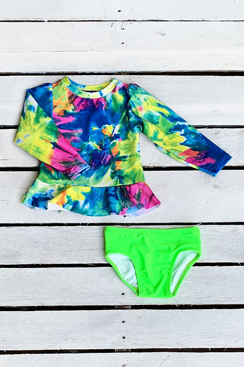 Neon Tie Dye Sun Shirt and Swim Bottom Set