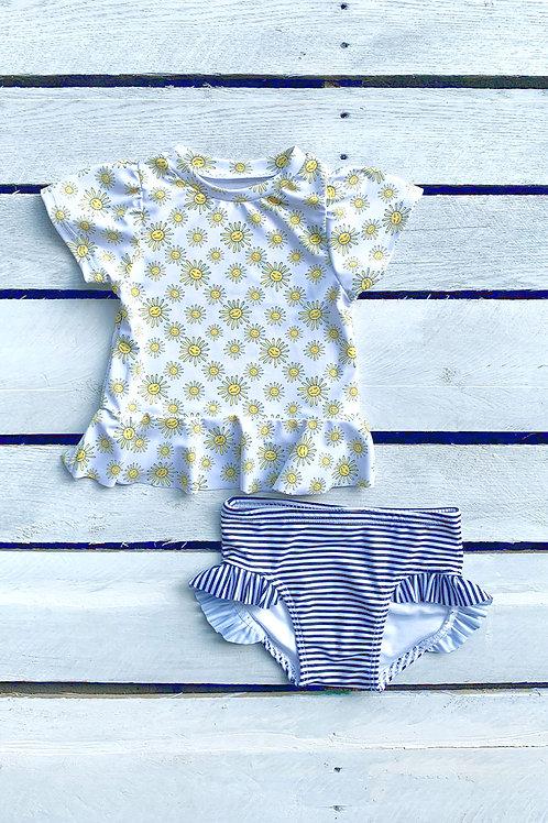 Sunkissed Short Sleeve Sun Shirt and Ruffle Swim Bottom