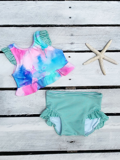 Pastel Sunset Ruffle Crop Top and Ruffle Swim Bottom
