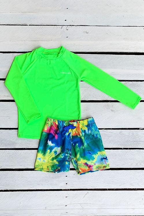 Neon Tie Dye Sun Shirt and Swim Trunk Set