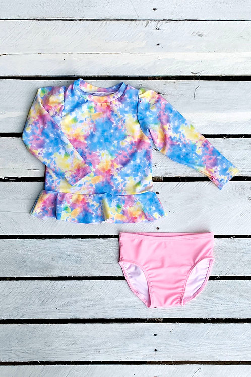 Dreamy Tie Dye Skirted Sun Shirt and Swim Bottom Set