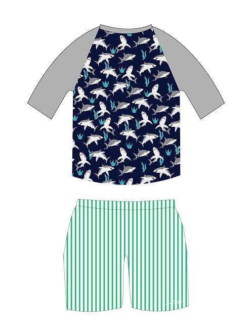 Sharks Short Sleeve Rash Guard and Swim Bottom Set