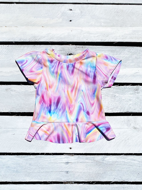 Rainbow Tye Dye Short Sleeve Skirted Rash Guard