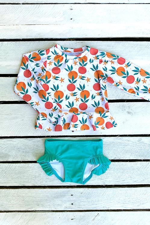 Tropical Fruit Long Sleeve Sun Shirt and Ruffle Swim Bottom Set