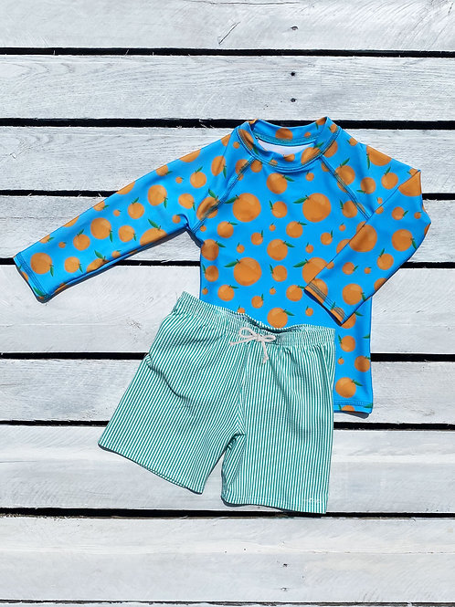 Squeeze the Day Rash Guard and Swim Bottom Set