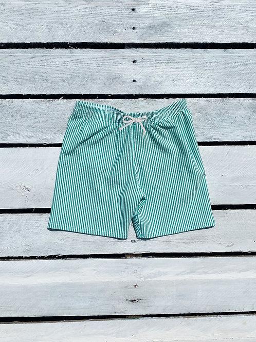Boys Swim Short Green/White Seersucker