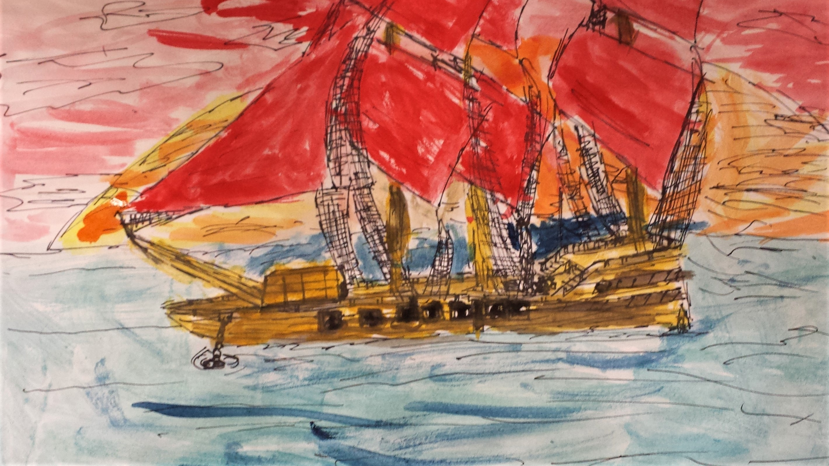Line drawing Pirate Ship Yr 5 Turner