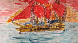 Line drawing Pirate Ship Yr 5 Turner