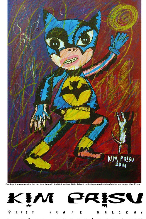 Bat boy the moon with the cat two faces