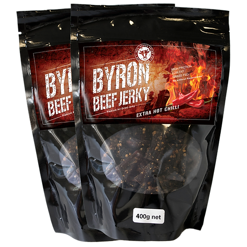 Extra Hot. Byron Beef Jerky 2 x 400g bags -ONLY IF YOU LIKE IT HOT!