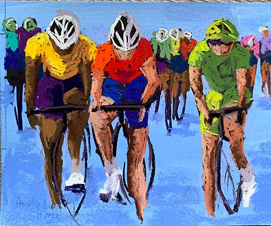 3 BIKERS: GREEN, RED, YELLOW JERSEYS