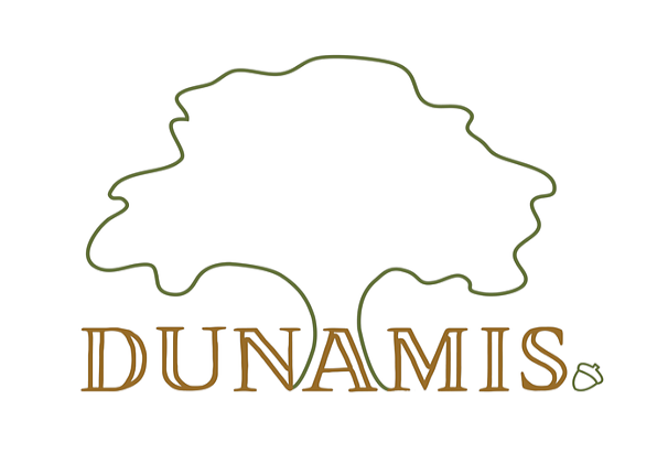 Dumanis logo, the outline of a tree and an acorn