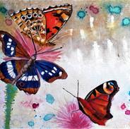 """""""Les papillons 1"""" (Belle-dame, Grand Mars Changeant et Paon du jour)"""