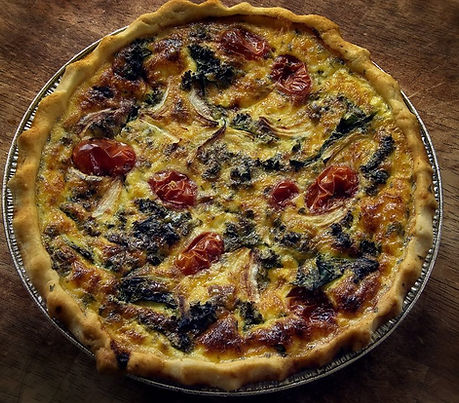 Garden Quiche with five veggies and NYS Extra Sharp Cheddar