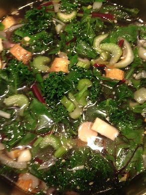Beef veggie soup using locally sourced ingredients