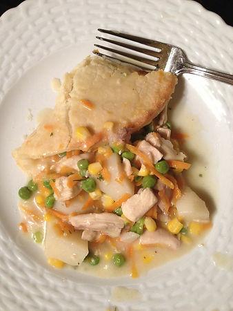 Gluten Free Plated Chicken Pot Pie with locally sourced ingredients