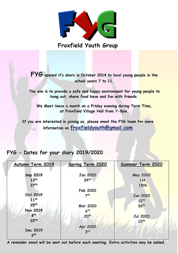 Froxfield Youth Group - Flyer 2019-2020