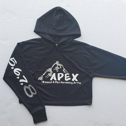 Black Apex Cropped Hoodie