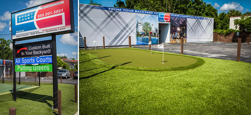 sport court putting green local showroom builder