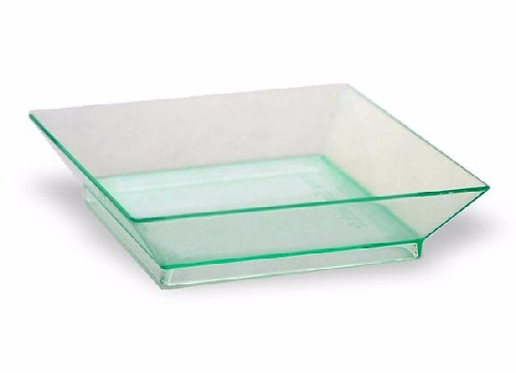 TRANSPARENT GREEN DISH 65X65 MM