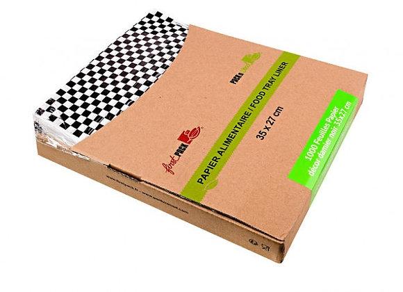 White semi parchment paper with black checks in dispenser box - 350 x 270 mm