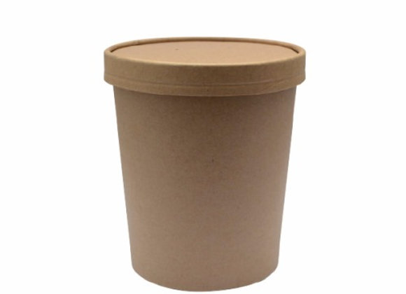 Brown kraft soup cup with lid 32 oz