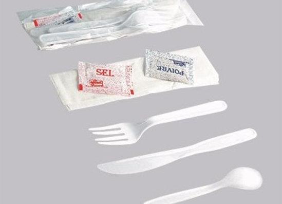 White classic cutlery kit 6/1 - Knife, fork, spoon, napkin, salt & pepper