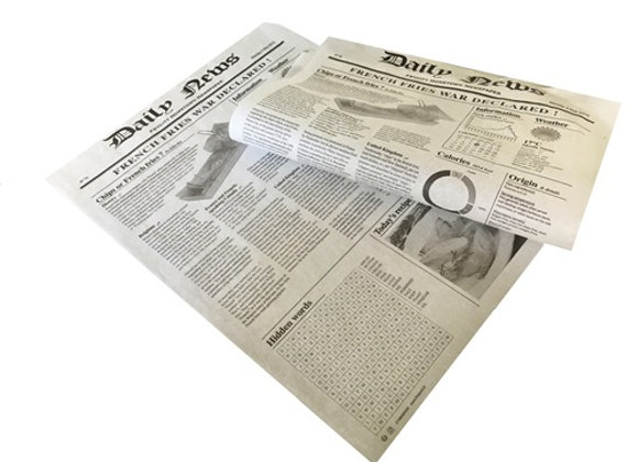 White greaseproof paper newspaper print - 27X35CM