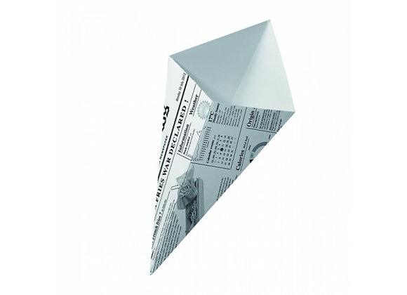 CARDBOARD CONE NEWSPAPER PRINT 17.5 x 14.5 CM