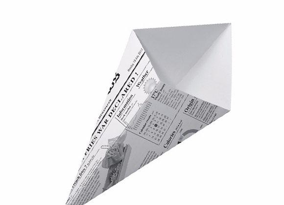 CARDBOARD CONE NEWSPAPER PRINT 19.5 x 16.0 CM