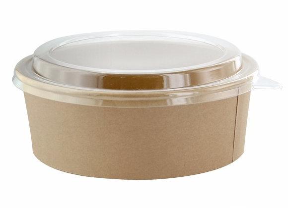Round kraft salad bowl with PET lid - 1100ML - DIAM 184 H 65MM