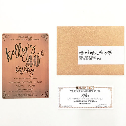 Etched Copper and Rose Gold Sparkle Invitation Suite
