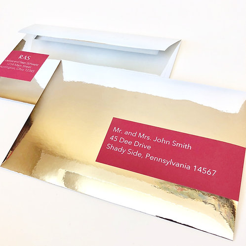 Mirror Silver Foil A9 Envelopes with Wrap Around Address Labels