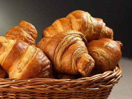 Delicious bread, cakes and croissants