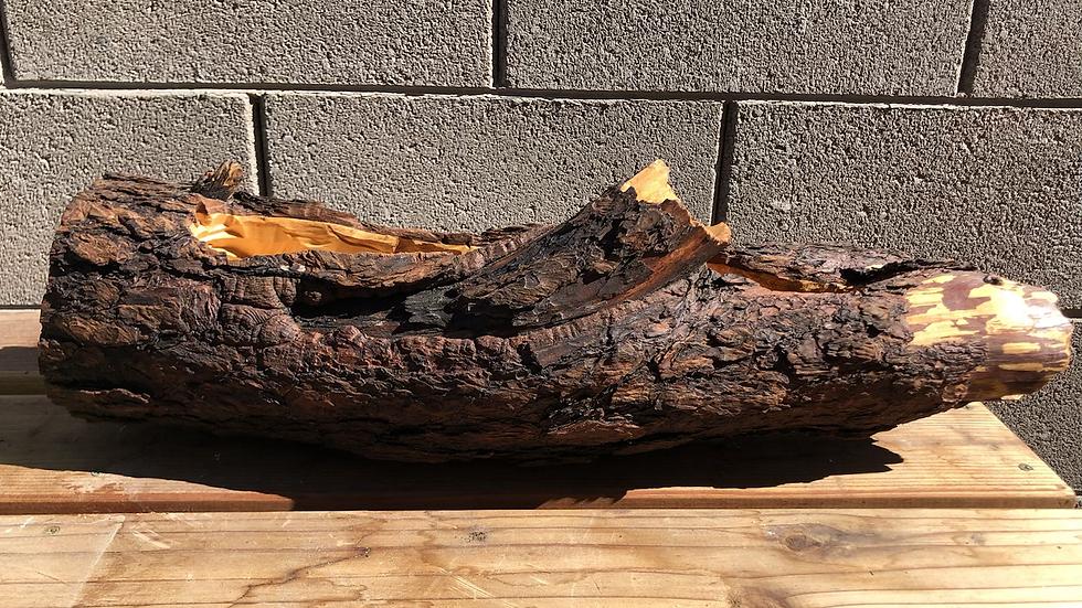 Large Empty Pine Wood log planter