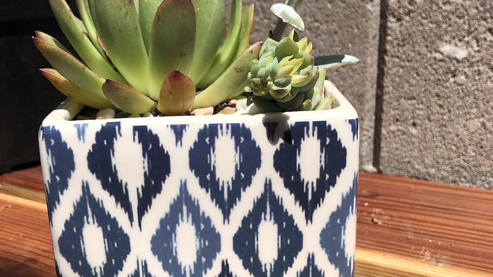 Square Ceramic Pot, hostess gift blue