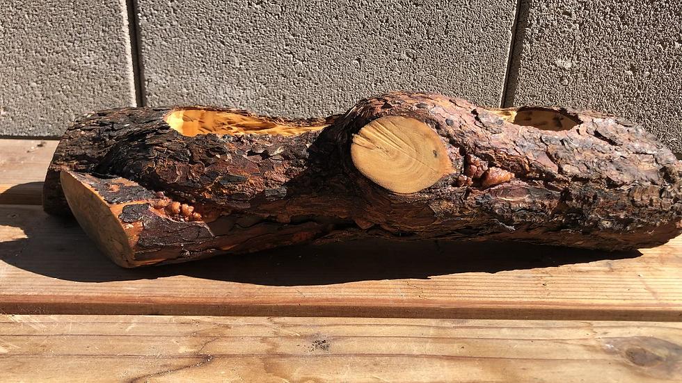 Empty Pine Wood log planter - large