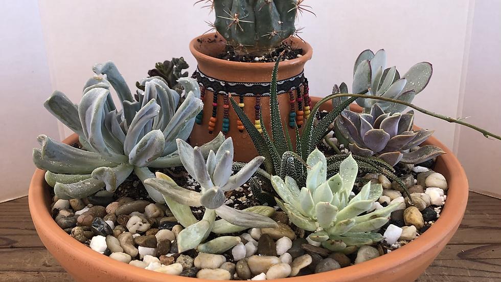 Beaded cactus and succulent garden pot