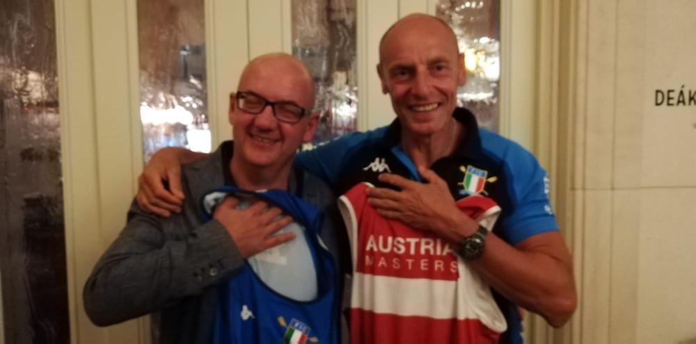 Scambio di body tra l'atleta austriaco PR3 Donauhort e il nostro Luca Agoletto, PR3 Aniene